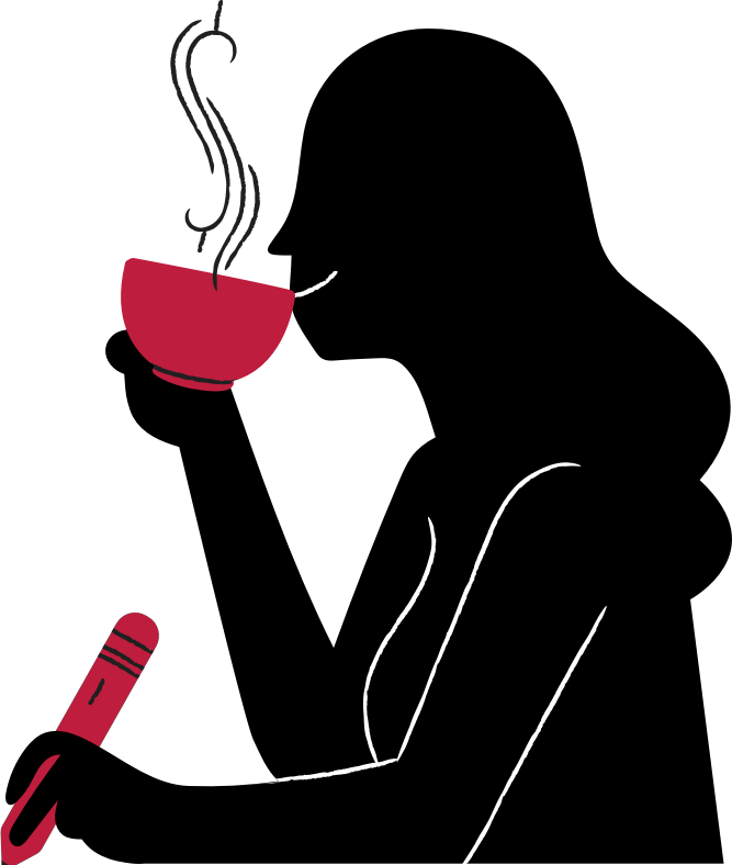 illustration of a woman drinking coffee and writing